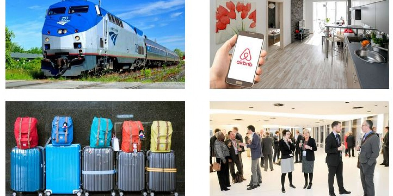 Photos of an Amtrak train, an Airbnb, rolling luggage, and people at a networking event