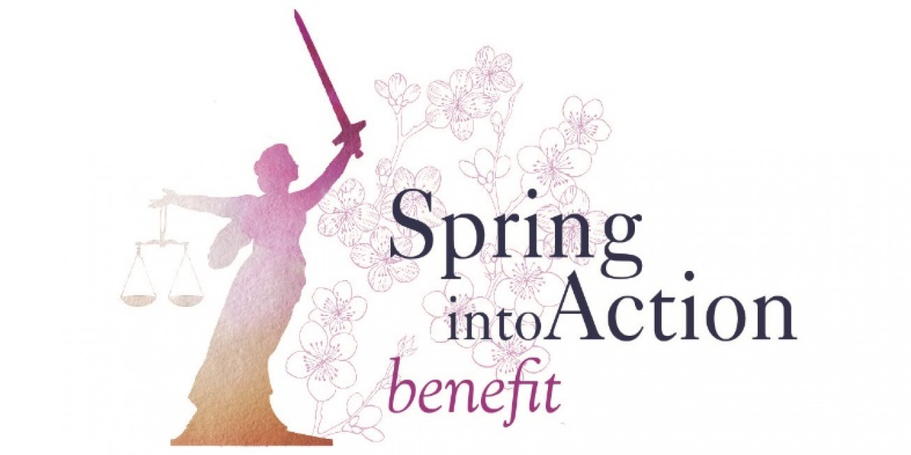 Orange and pink lady justice in front of cherry blossom background, next to Spring into Action benefit text