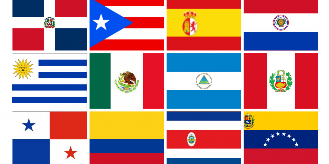 Collage of flags of Hispanic countries