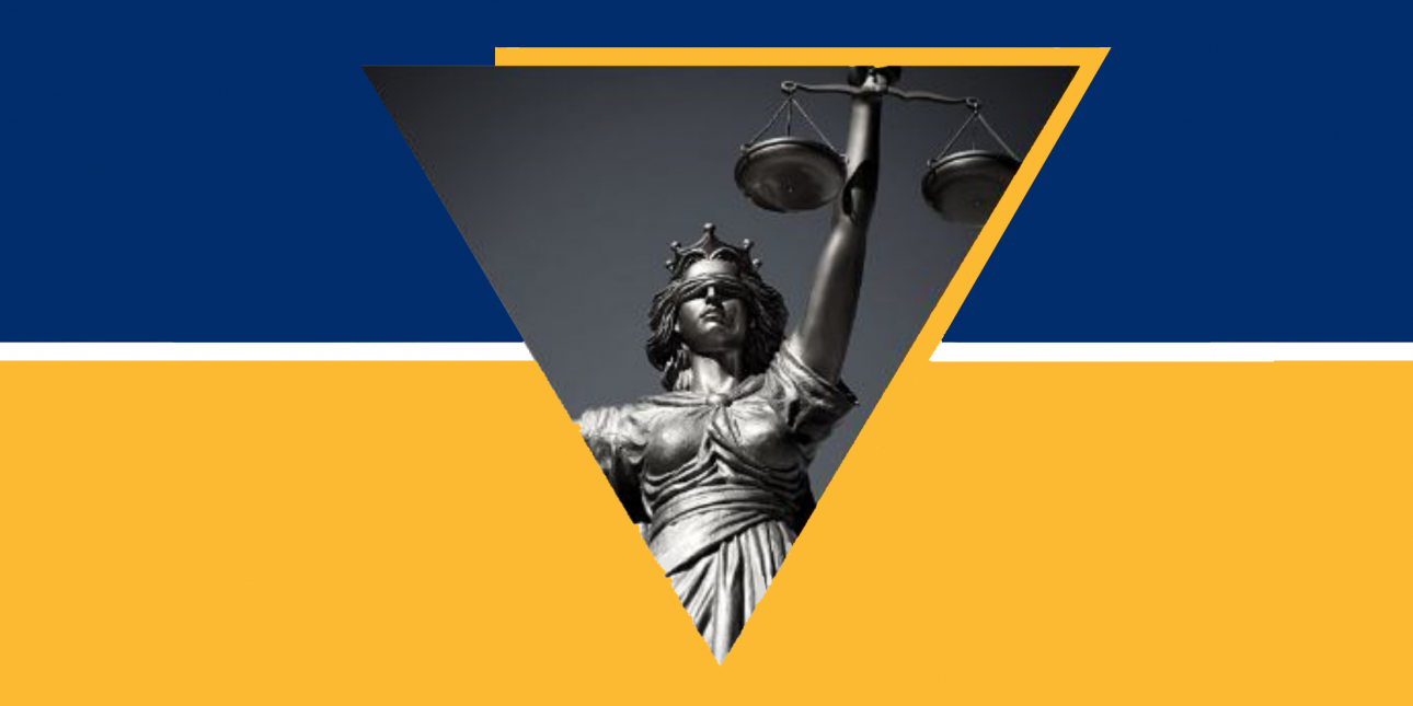 Black and white photo of a Lady Justice statue against a blue and gold background