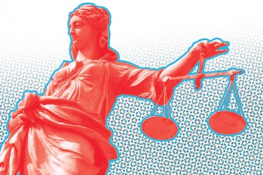 Red lady justice on a blue and red background