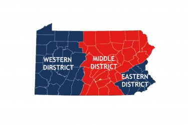 A map of PA Illustrating the Western, Middle and Eastern Districts